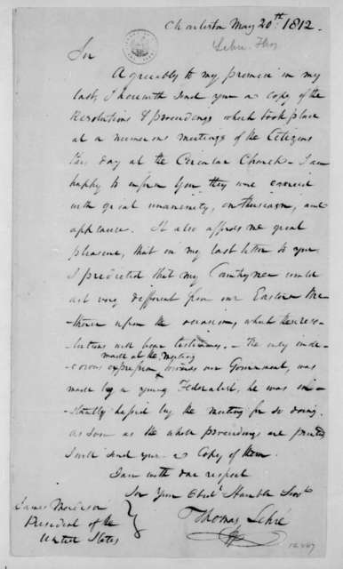 Thomas Lehre to James Madison, May 20, 1812.