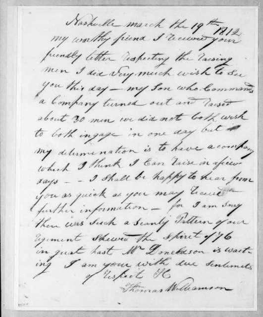 Thomas Williamson to Andrew Jackson, March 19, 1812