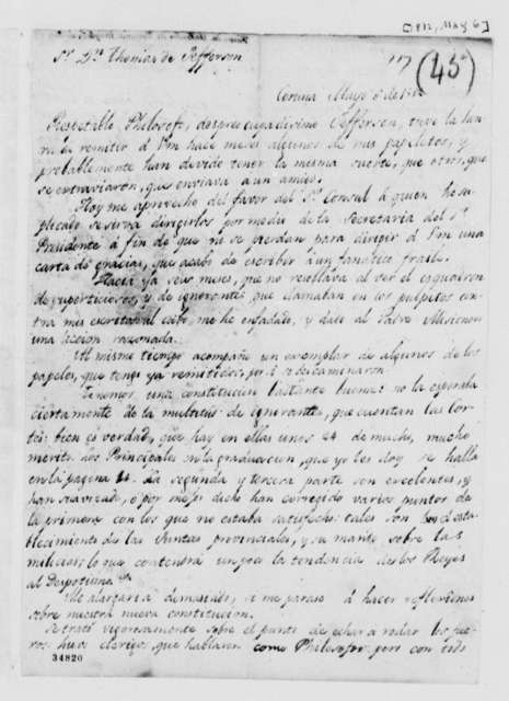 Valentin de Foronda to Thomas Jefferson, May 6, 1812, in Spanish