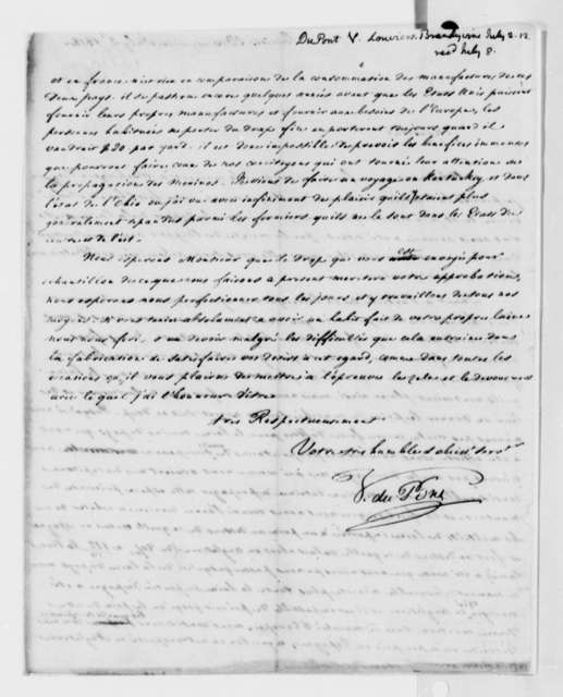 Victor Dupont de Nemours to Thomas Jefferson, July 2, 1812, in French
