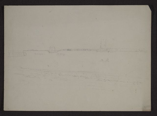 [View of Charleston, South Carolina, perhaps coming down the Cooper River, showing ships, rowboats, and canoes on the water]