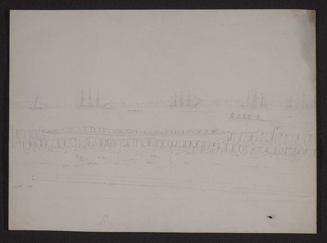 [View of Charleston, South Carolina, perhaps looking southwest, showing ships, sailboats, and five men in a  rowboat]