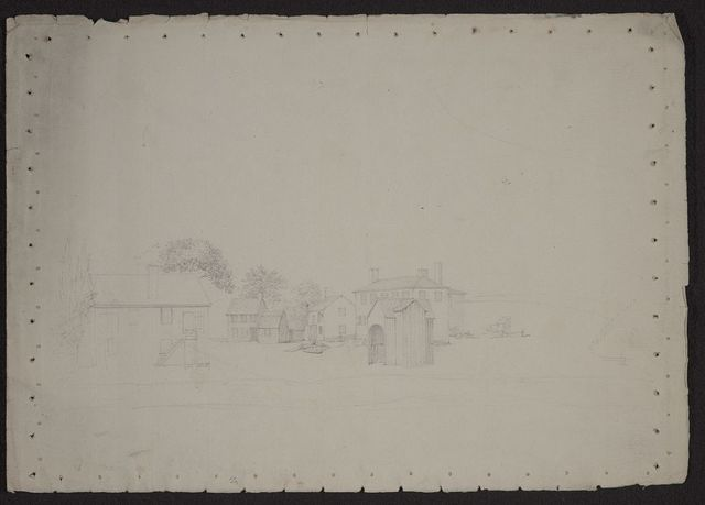 [View of the city of Charleston, South Carolina, with a large home and smaller houses, outbuildings, and perhaps a slave cabin]