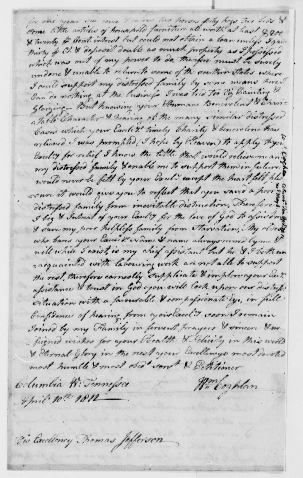 William Coghlan to Thomas Jefferson, April 10, 1812