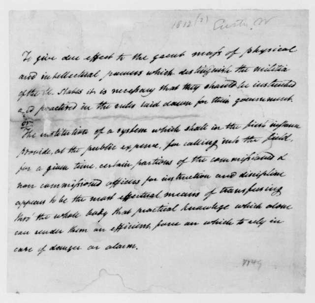 William Eustis. Notes, Militia Training. 1812.