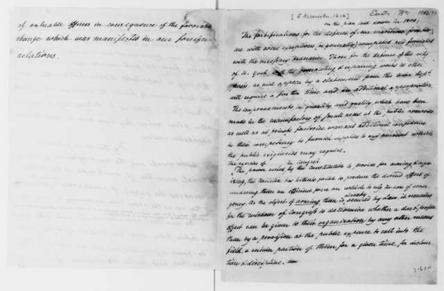 William Eustis to James Madison. Notes on nominations. 1812.