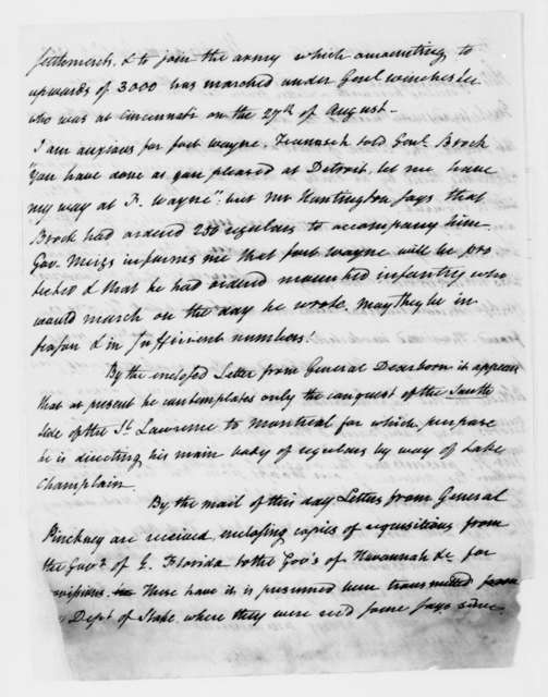 William Eustis to James Madison, September 5, 1812.