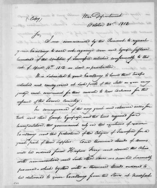 William Eustis to Willie Blount, October 21, 1812