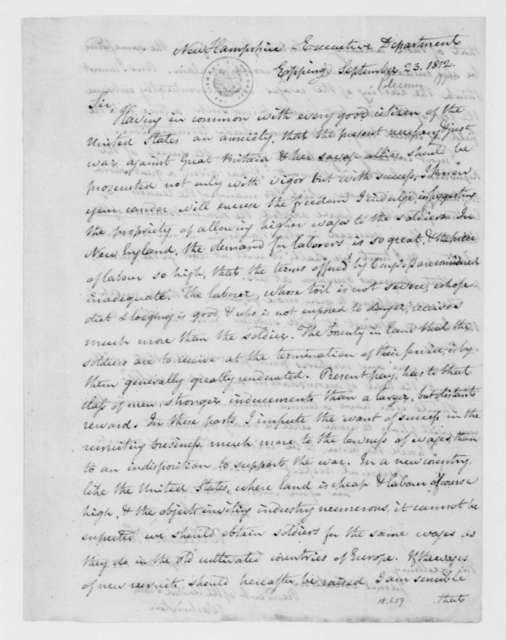 William Plumer to James Madison, September 23, 1812.