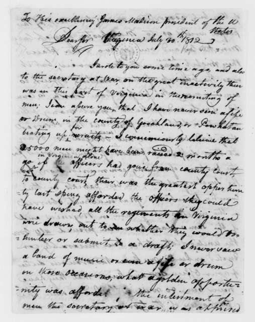 William Pope to James Madison, July 30, 1812.