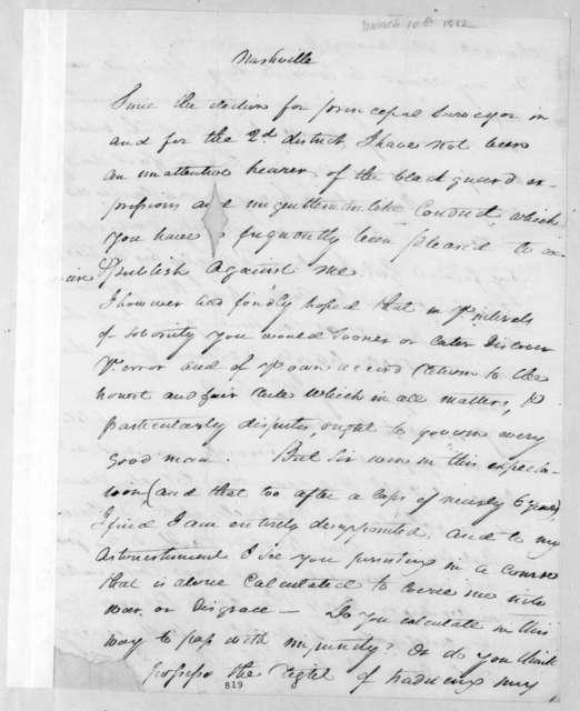 William Preston Anderson to Andrew Jackson, March 10, 1812