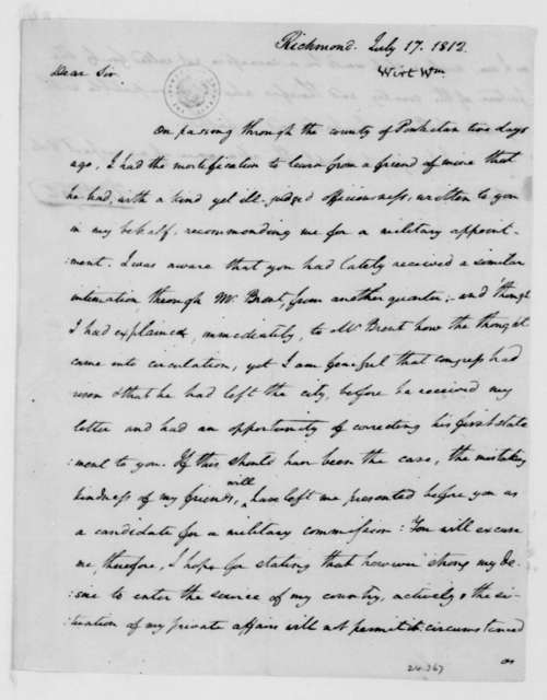 William Wirt to James Madison, July 17, 1812.