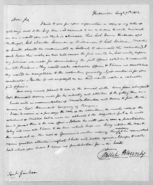 Willie Blount to Andrew Jackson, August 7, 1812