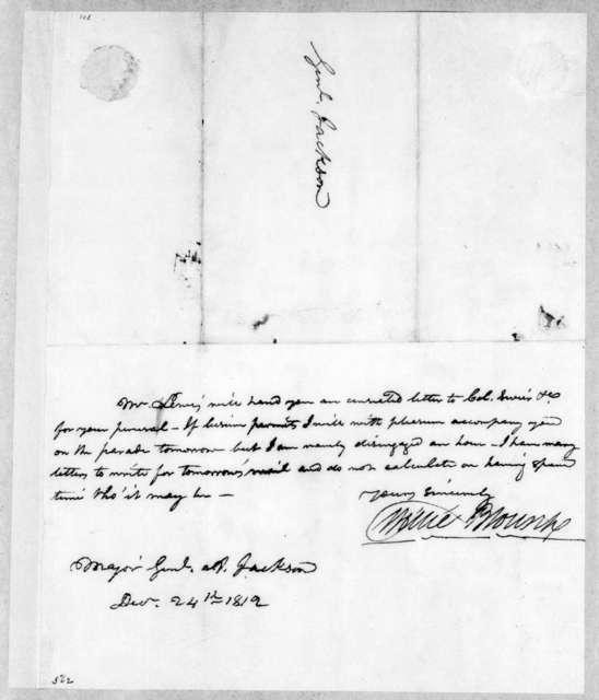 Willie Blount to Andrew Jackson, December 24, 1812