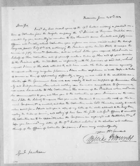 Willie Blount to Andrew Jackson, June 25, 1812