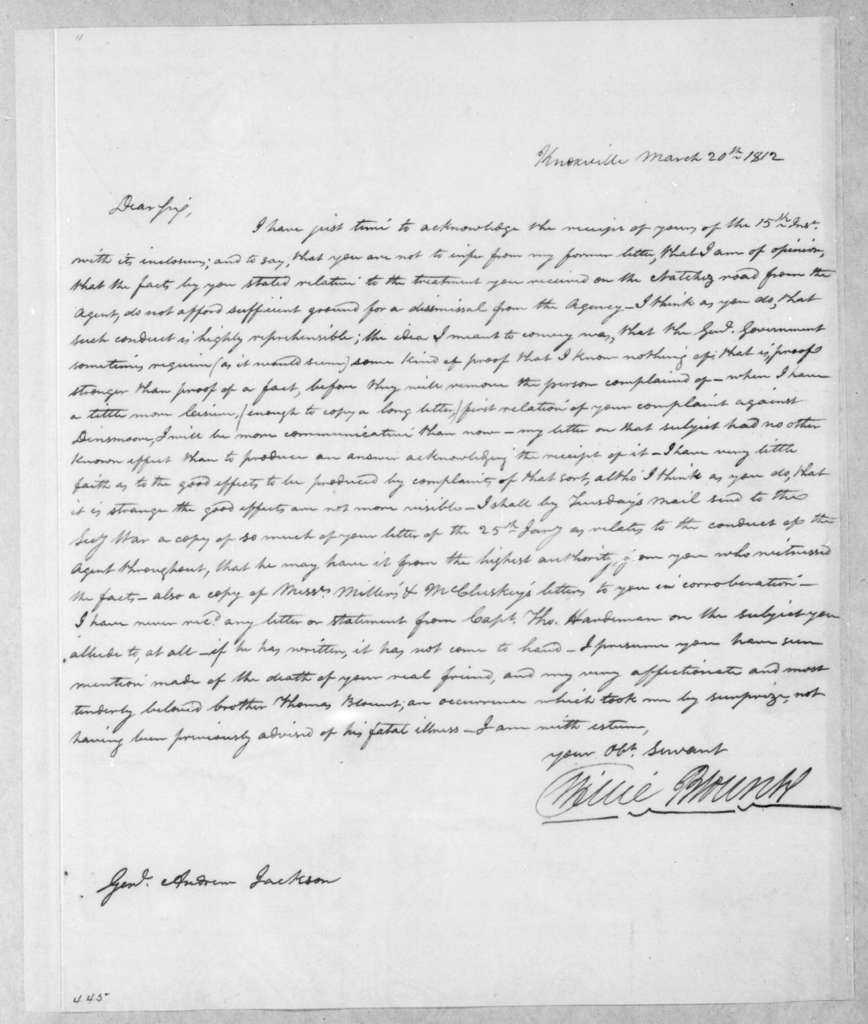 Willie Blount to Andrew Jackson, March 20, 1812