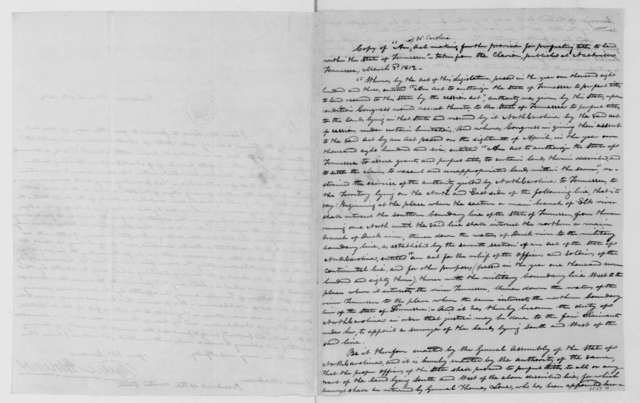 Willie Blount to James Madison, March 6, 1812. Includes copy of an act from the North Carolina General Assembly March 3, 1812.