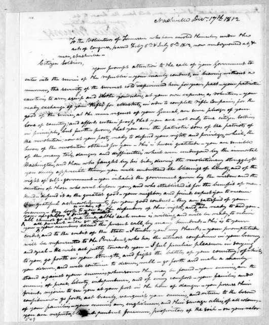 Willie Blount to Tennessee Volunteer Brigade, December 17, 1812