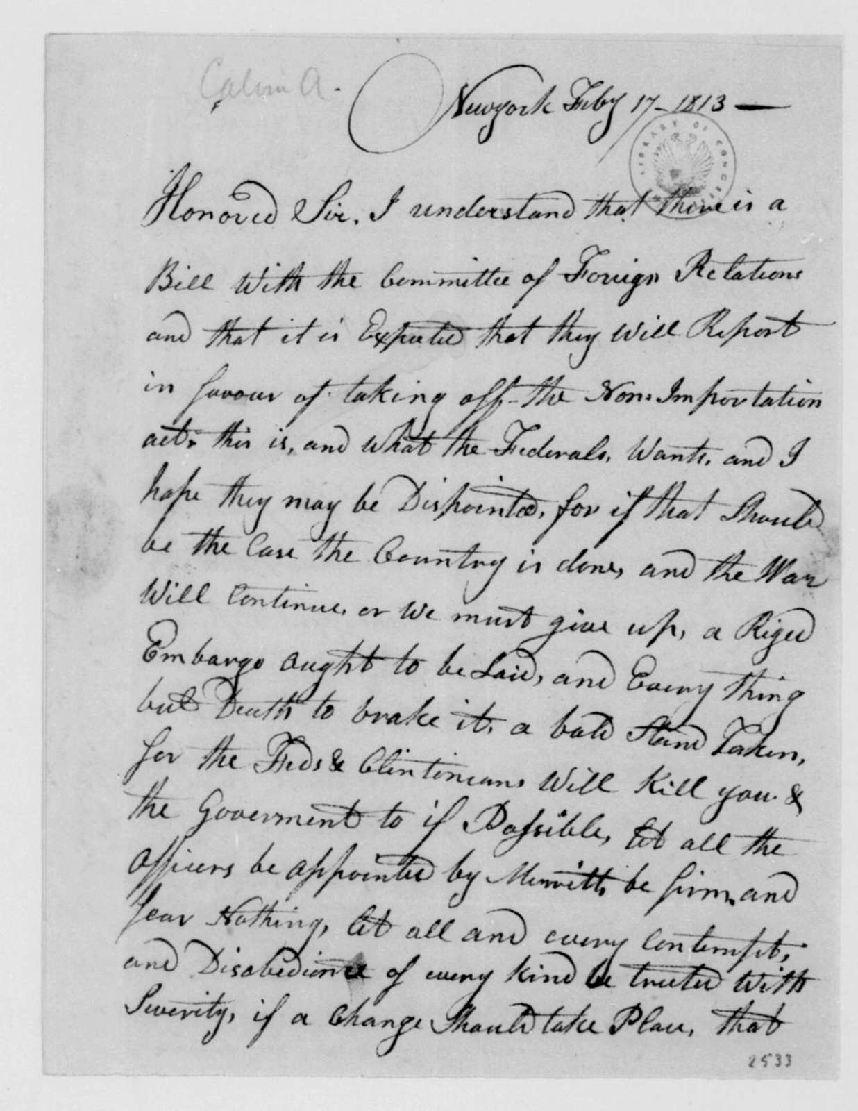 A. Calvin to James Madison, February 17, 1813.