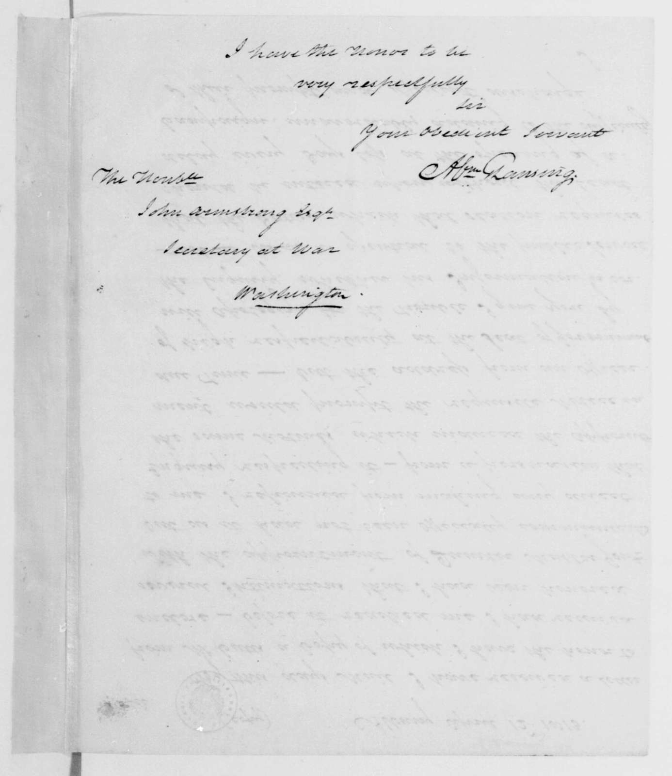 Abraham G. Lansing to John Armstrong, April 12, 1813.