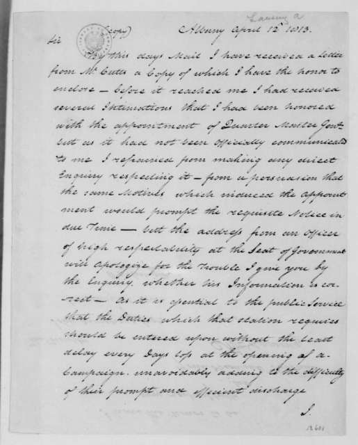 Abraham G. Lansing to John Armstrong, April 12, 1813.