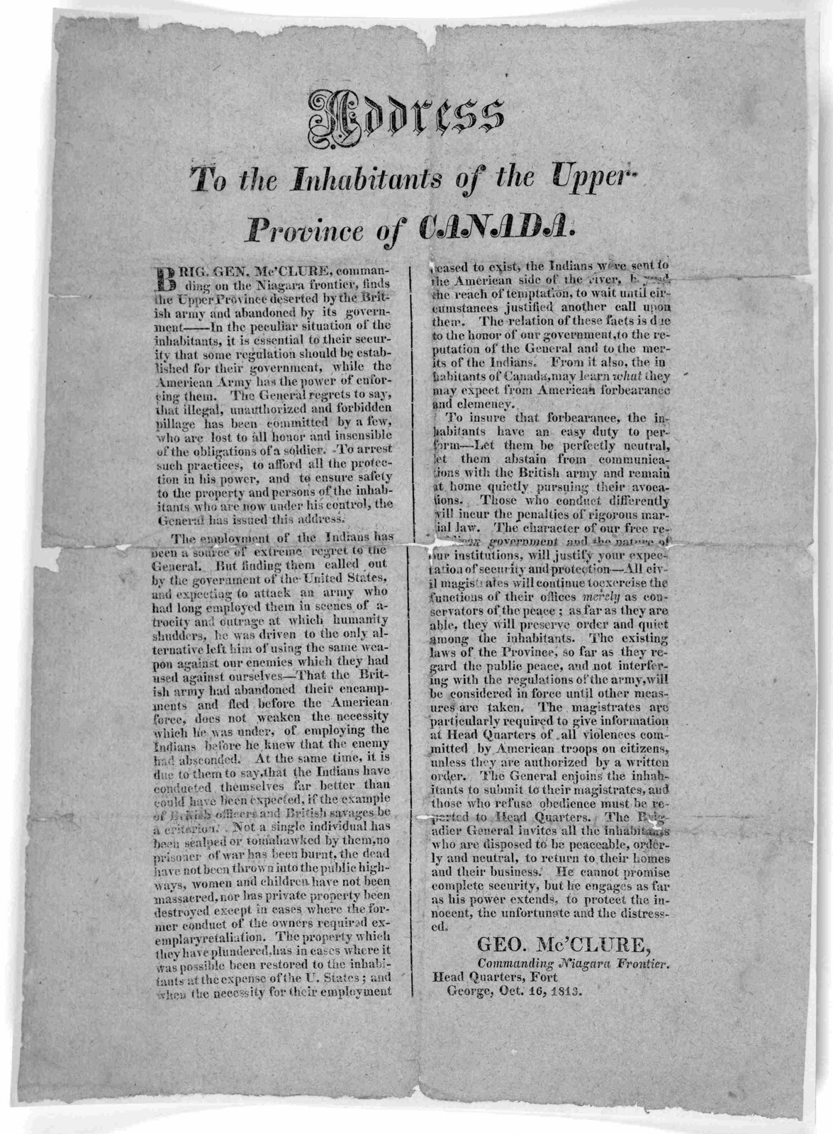 Address to the inhabitants of the Upper Province of Canada ... Geo McClure, Commanding Niagara Frontier Head Quarters, Fort George Oct. 16, 1813.