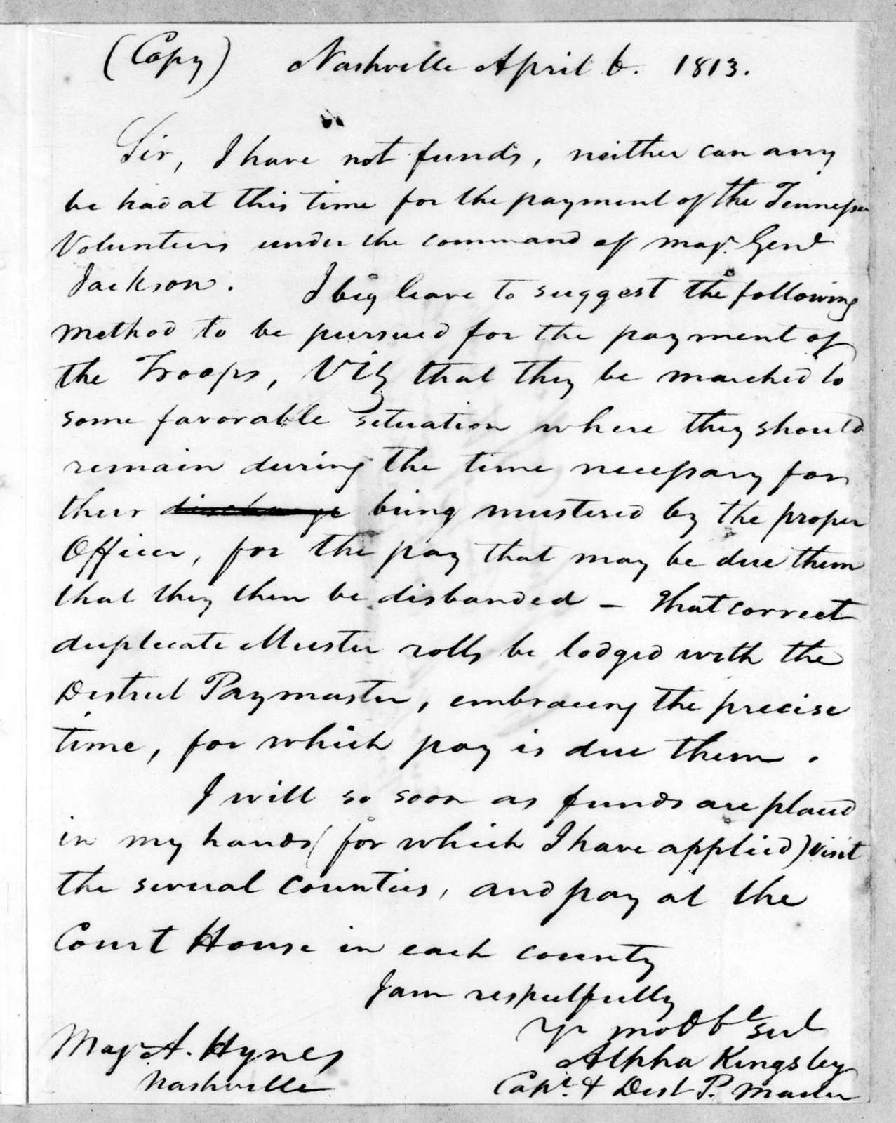 Alpha Kingsley to Andrew Hynes, April 6, 1813