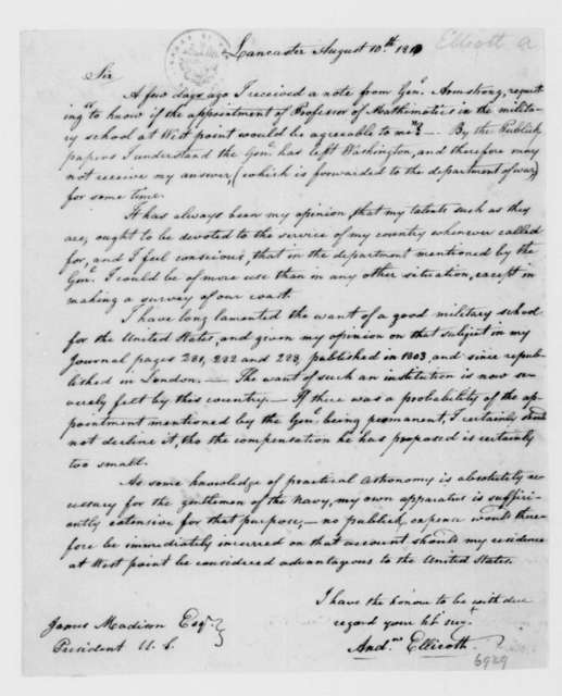 Andrew Ellicott to James Madison, August 10, 1813.