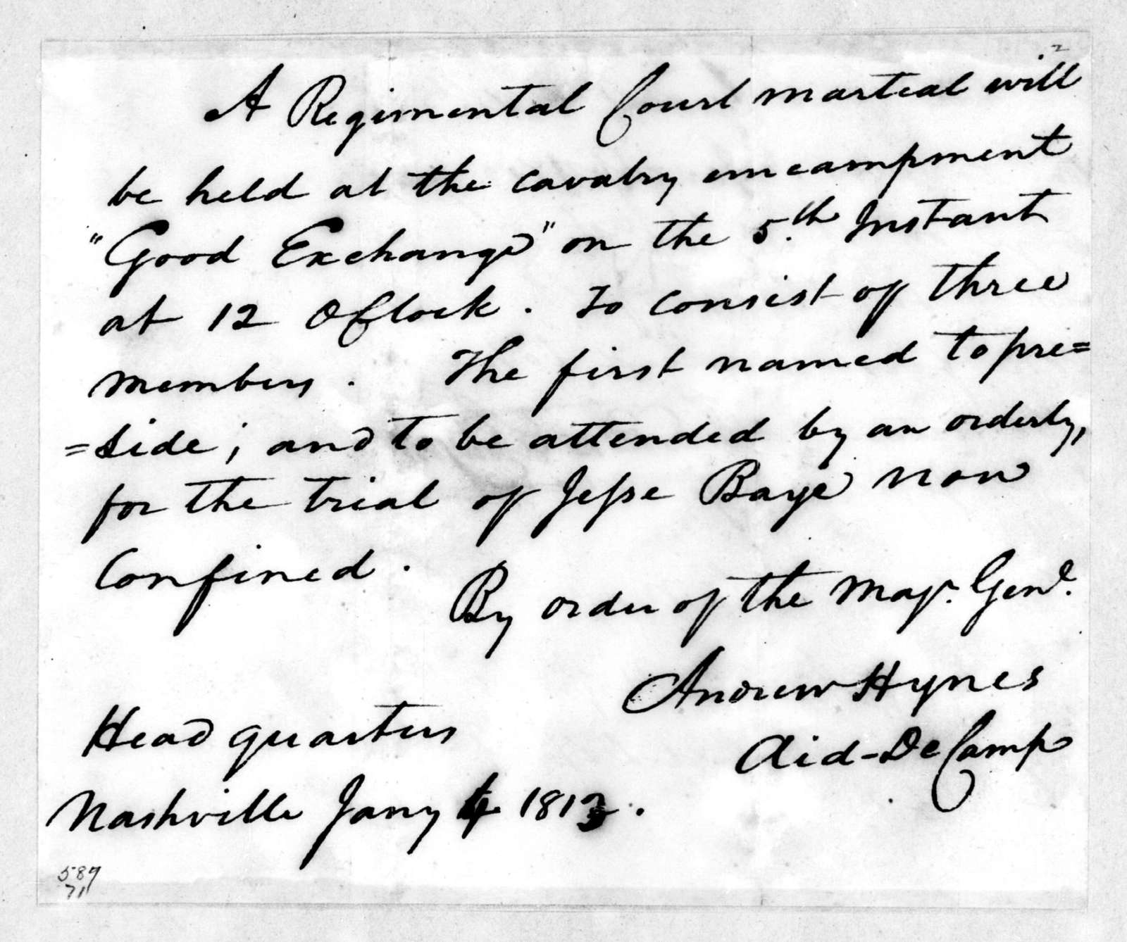 Andrew Hynes, January 4, 1813