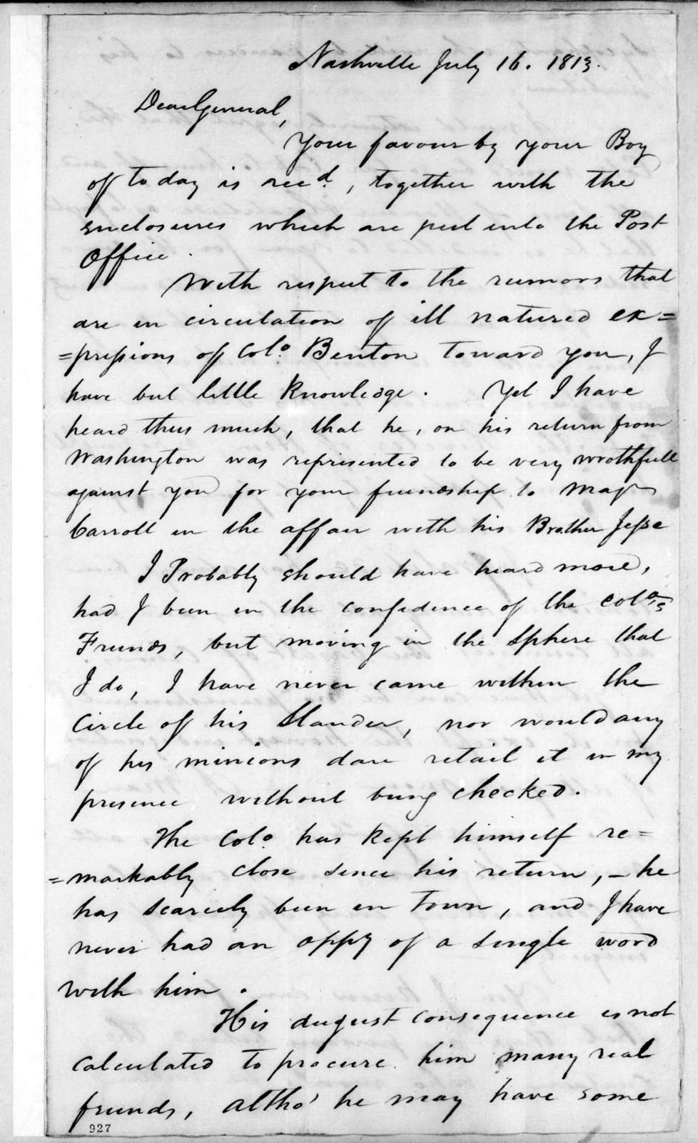 Andrew Hynes to Andrew Jackson, July 16, 1813