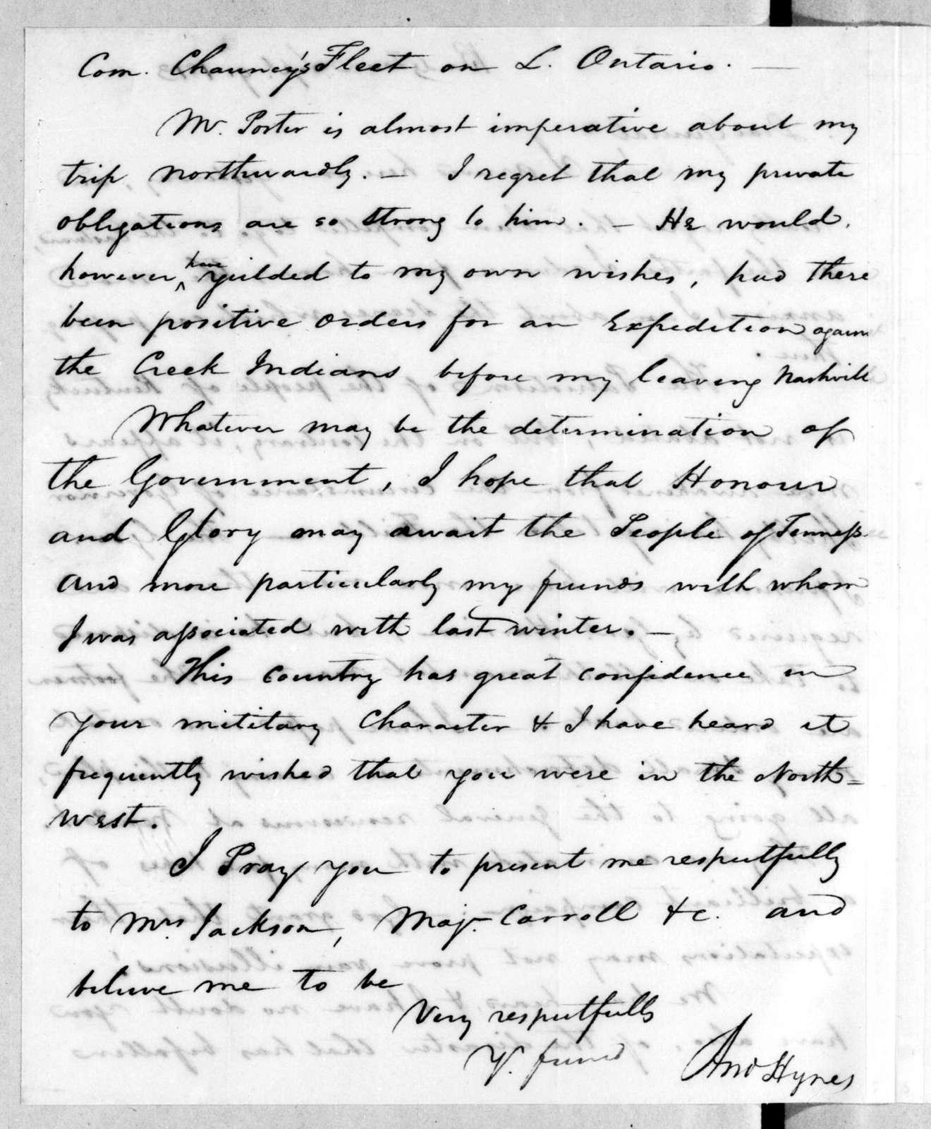 Andrew Hynes to Andrew Jackson, September 9, 1813