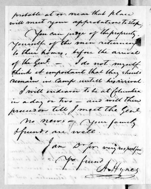 Andrew Hynes to John Coffee, April 10, 1813