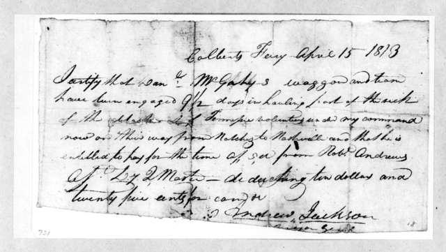 Andrew Jackson, April 15, 1813