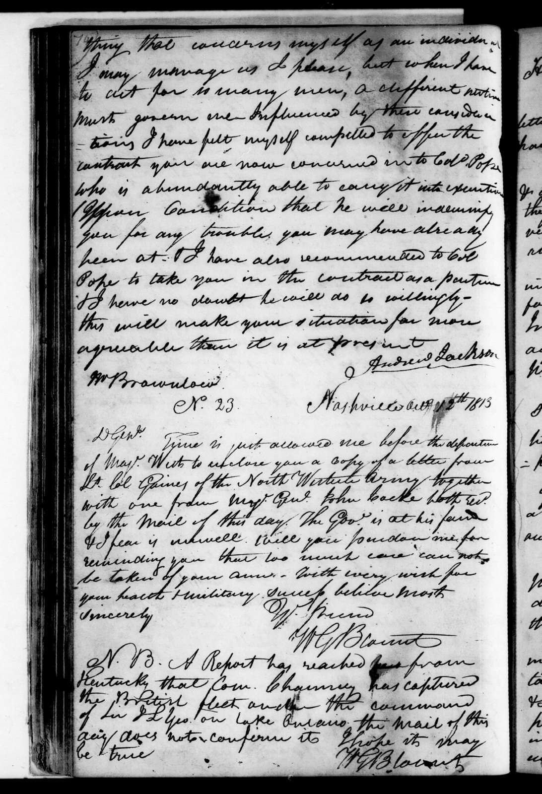 Andrew Jackson Letterbook Vol. D - Letter and Orders, October 1813 - January 1814
