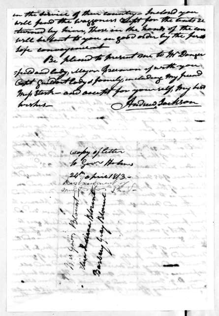 Andrew Jackson to David Holmes, April 24, 1813