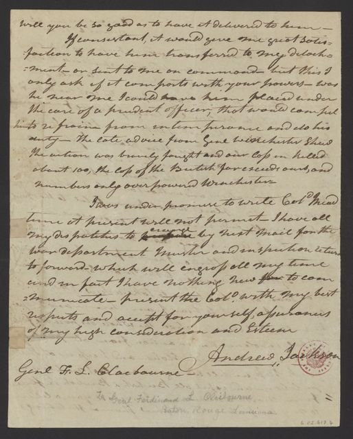 Andrew Jackson to Ferdinand L. Claiborne, March 6, 1813