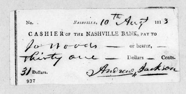 Andrew Jackson to J. Woods, August 10, 1813