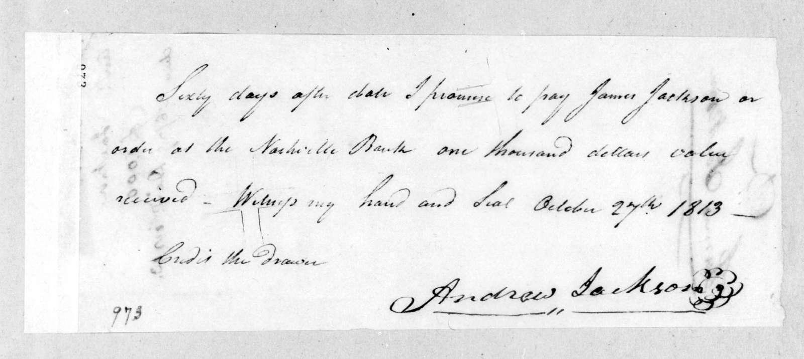 Andrew Jackson to James Jackson, October 27, 1813