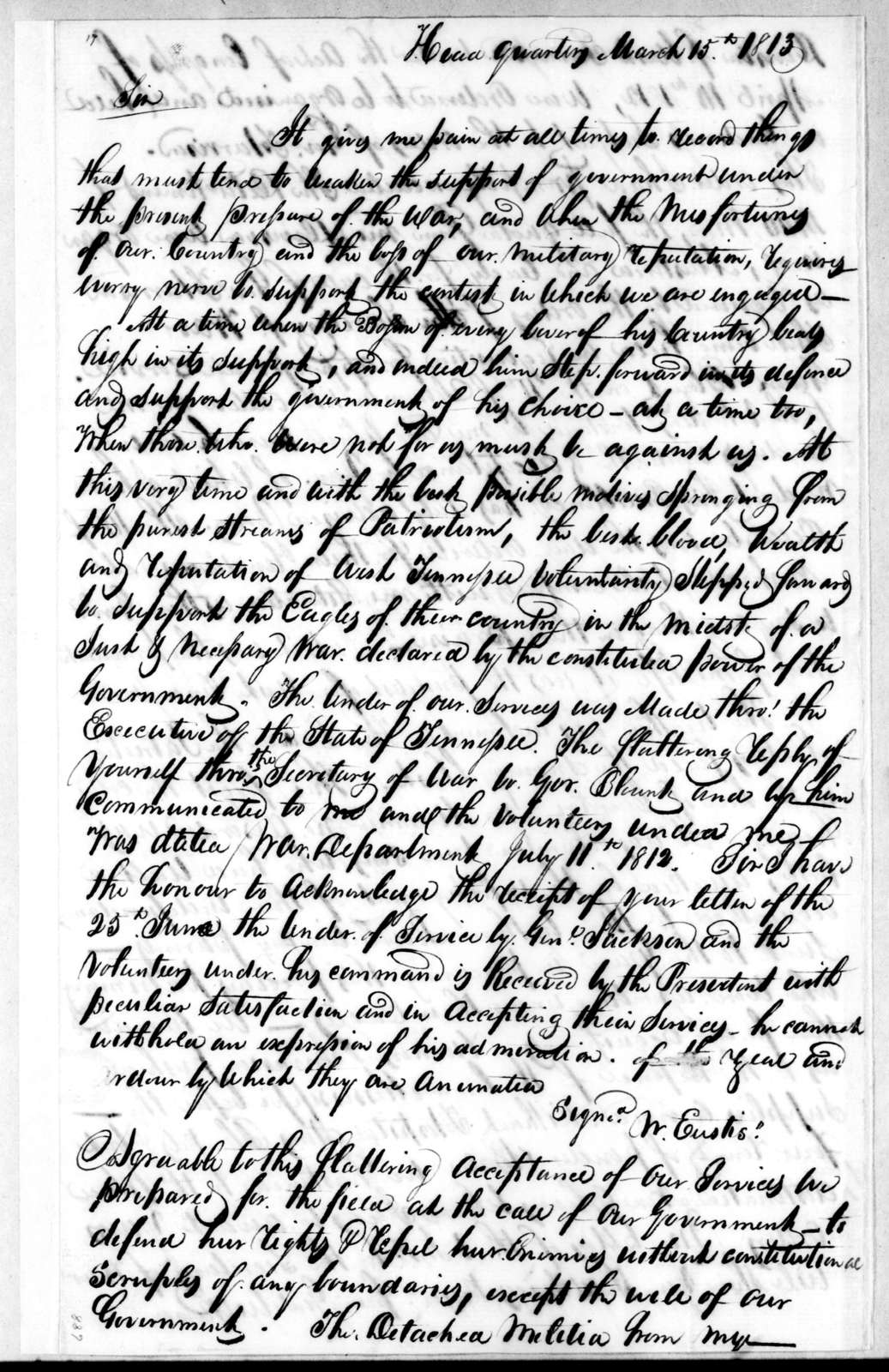 Andrew Jackson to James Wilkinson, March 15, 1813