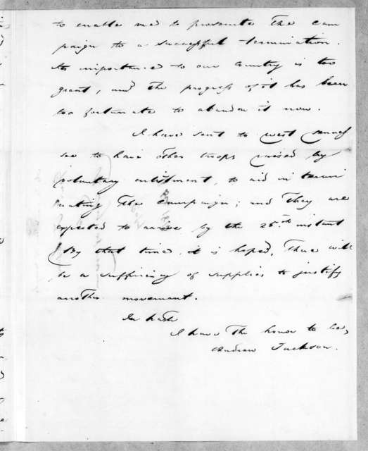 Andrew Jackson to John Armstrong, December 16, 1813