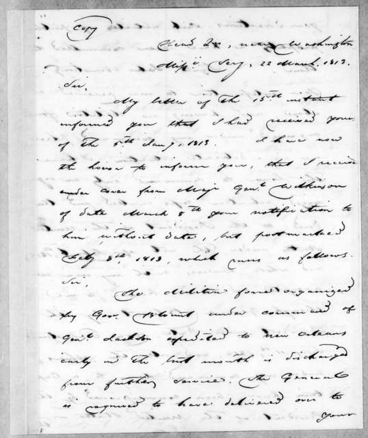 Andrew Jackson to John Armstrong, March 22, 1813