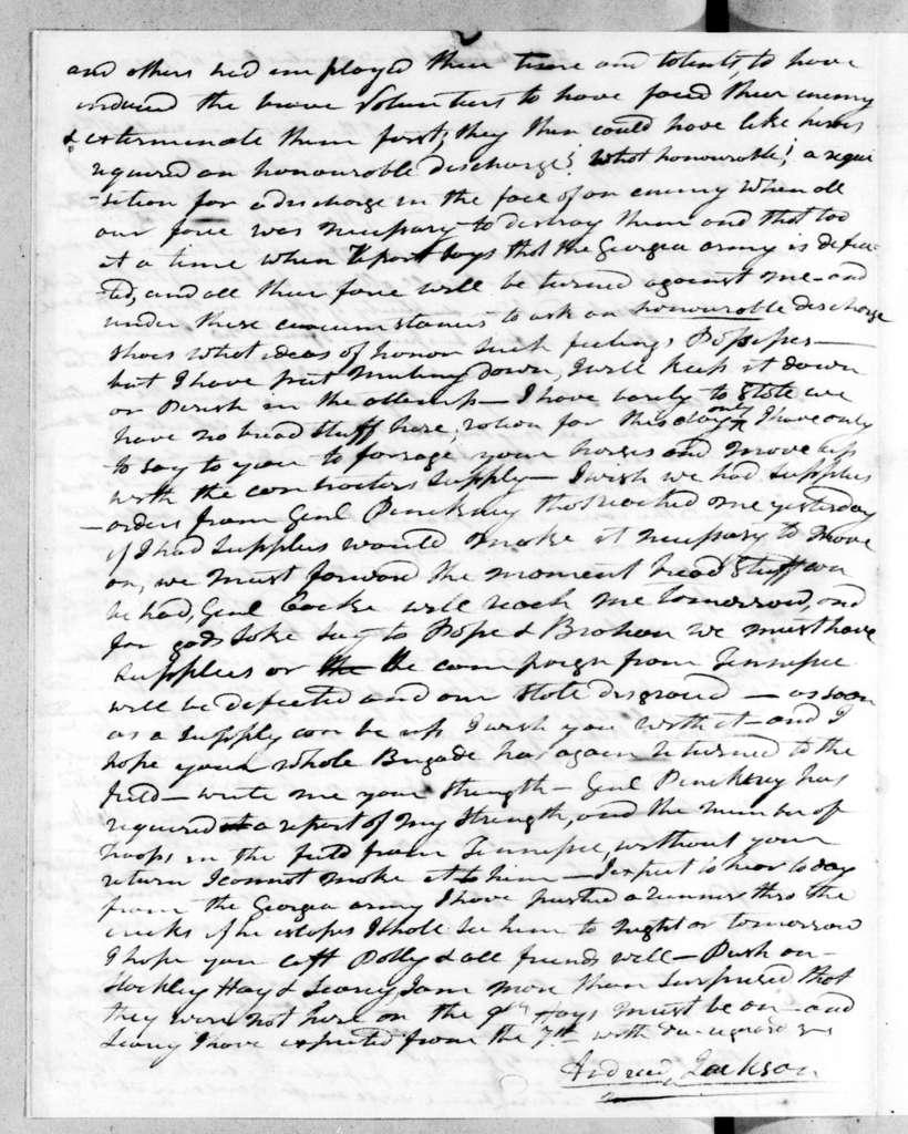 Andrew Jackson to John Coffee, December 11, 1813