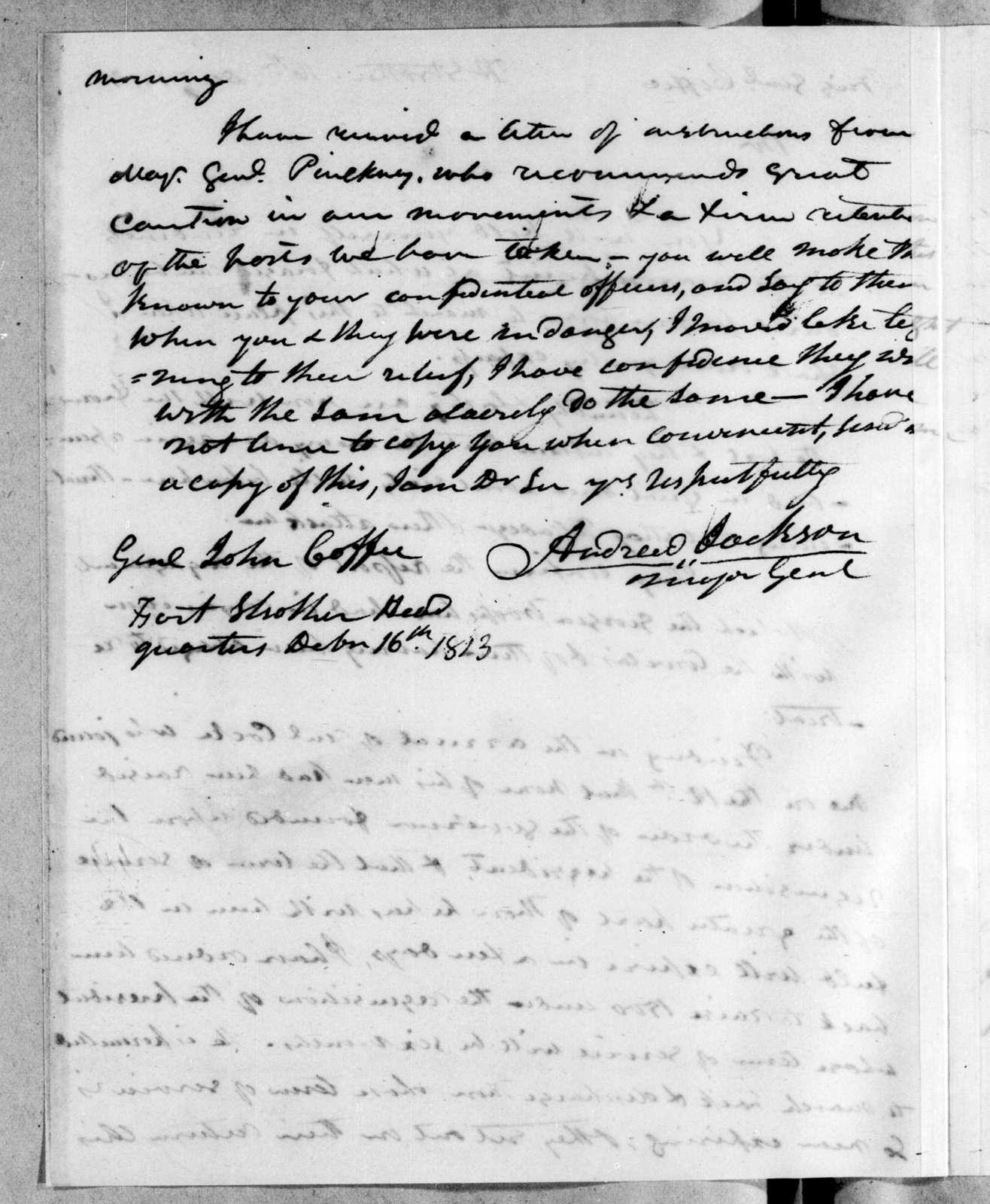 Andrew Jackson to John Coffee, December 16, 1813