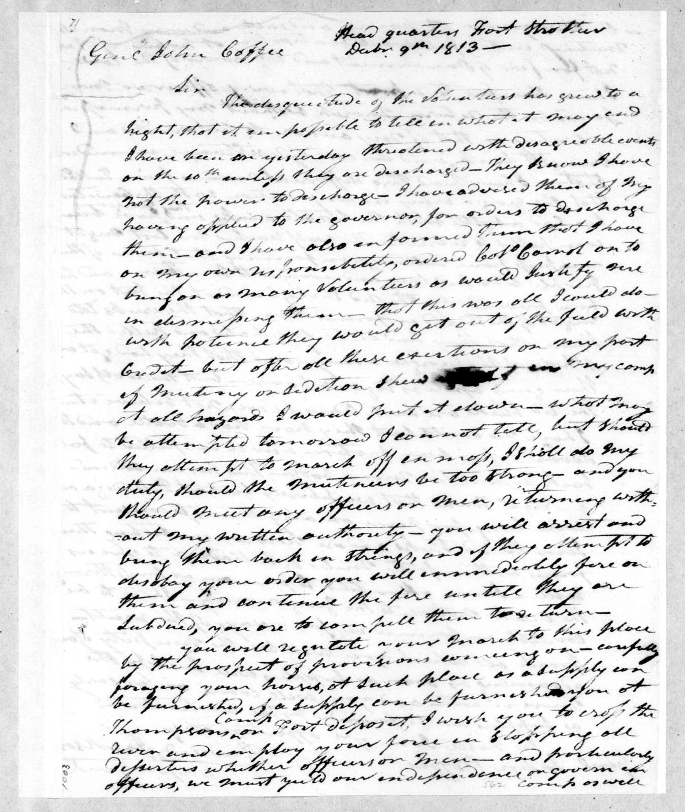 Andrew Jackson to John Coffee, December 9, 1813