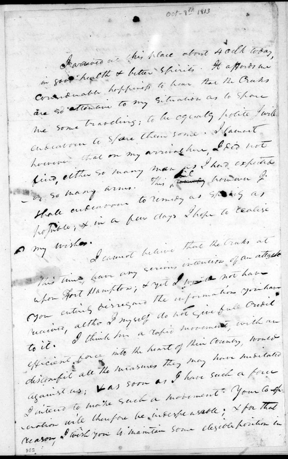 Andrew Jackson to John Coffee, October 8, 1813