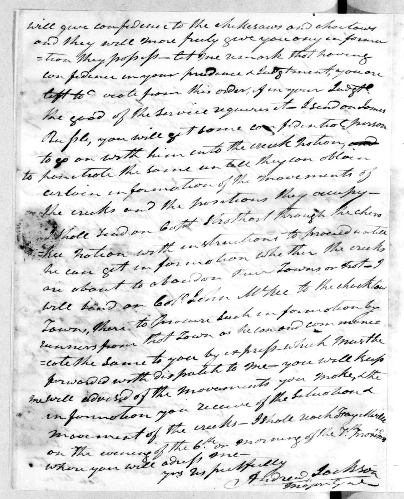 Andrew Jackson to John Coffee, September 27, 1813