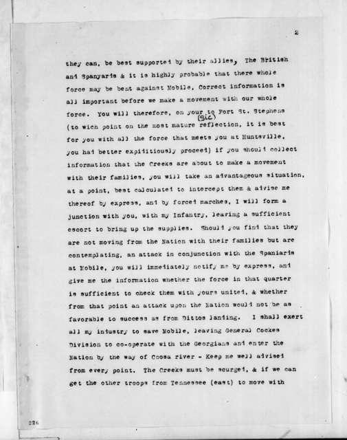 Andrew Jackson to John Coffee, September 29, 1813
