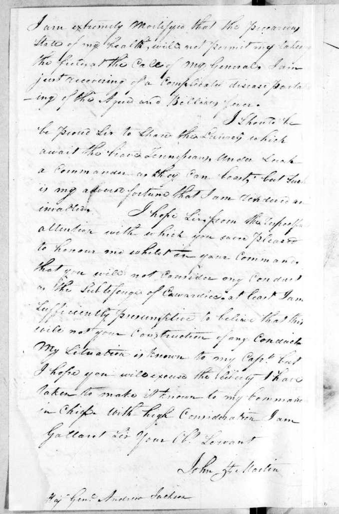 Andrew Jackson to John H. Martin, October 6, 1813