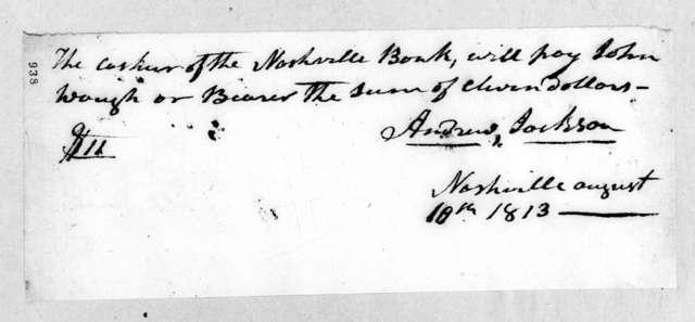 Andrew Jackson to John Waugh, August 10, 1813