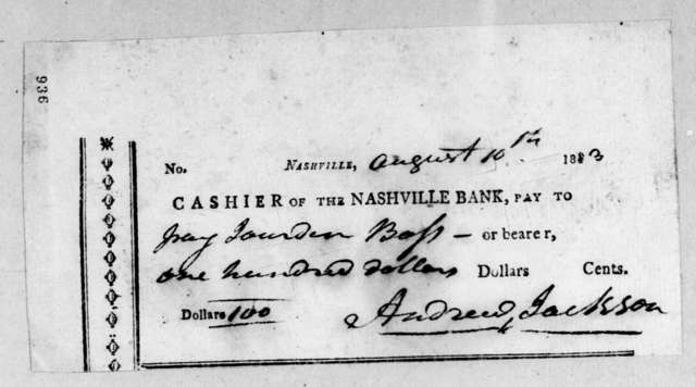 Andrew Jackson to Jordan Bass, August 10, 1813